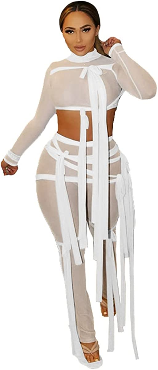 XuFeng Ribbons Hipster Sheer Mesh Sexy Two Piece Set