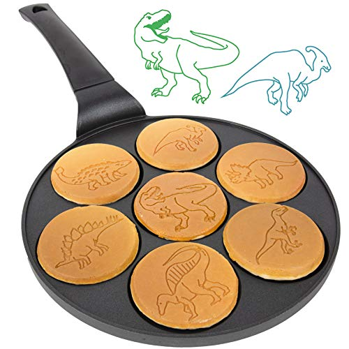 Dino Mini Pancake Pan  Make 7 Unique Flapjack Dinosaurs Nonstick Pan Cake Maker Griddle for Breakfast Fun amp Easy Cleanup