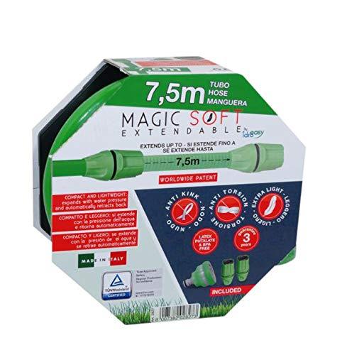 Idroeasy Magic Soft 7.5 metros, la Manguera Extensibile para el Jardín que se extiende hasta 2,5 veces su longitud inicial, Hecha en Italia