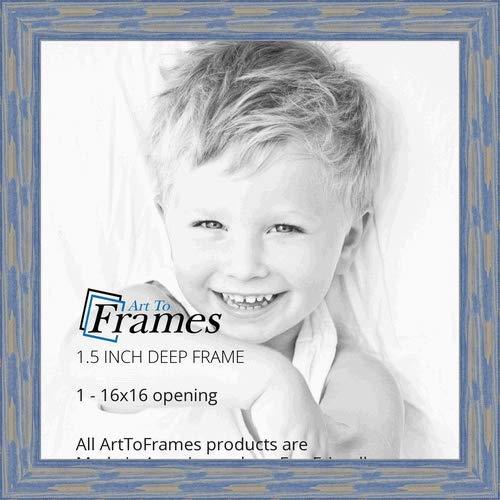 ArtToFrames 16x16 inch Deep Periwinkle Barnwood Frame Wood Picture Frame, WOM0066-56673-YBLU-16x16