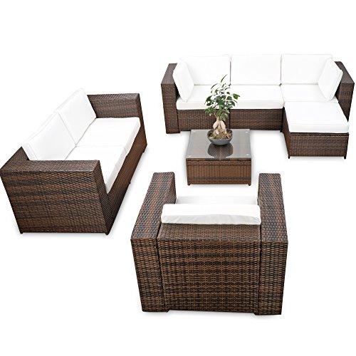 XINRO® erweiterbares 23tlg. Polyrattan Lounge Möbel Set Ecksofa - braun-Mix - Sitzgruppe Garnitur Gartenmöbel Lounge Set XXL - inkl. Lounge Ecke + Sessel + Hocker + Tisch + Kissen