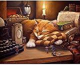 Punto de cruz Kit Bordados para niños y adultos Gato durmiendo marrón,16 x 20 pulgadas DIY costura punto de cruz set decoración de pared principiante(11CT)