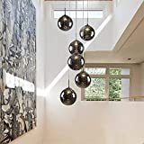 SYXBB-Lampe Lámpara Colgante de Cristal Moderna lámpara de Escalera giratoria de Cristal K9 Lámpara Colgante de Cristal Retro Lámpara de Cristal LED G14 Lámpara de Mesa de Comedor,Amber,6lights