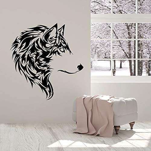 HFDHFH Tatuajes de Pared de Lobo Hermoso Animal Salvaje Tribal decoración del hogar Dormitorio Sala de Estar Gente Cueva Vinilo Ventana Pegatinas Mural Fresco