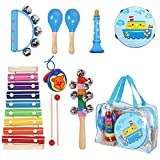 Kids Musical Instruments Sets, 12pcs Wooden Percussion Instruments Toys...