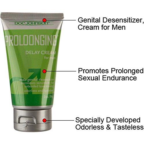 Doc Johnson Prolonging Delay Desensitizing Gel Cream for Men 2 Oz 56g