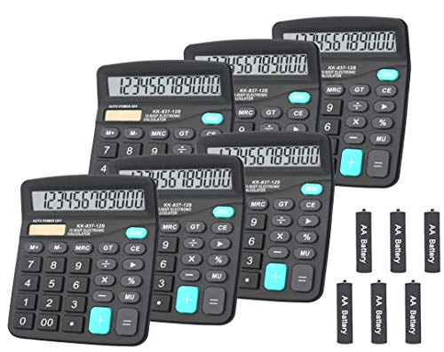 Calculators BESTWYA 12Digit Dual Power Handheld Desktop Calculator with Large LCD Display Big Sensitive Button Black Pack of 6