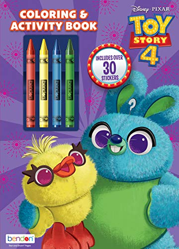 Toy Story Disney 4 Coloring and Activity Book with Crayons Bendon 44597, Multicolored
