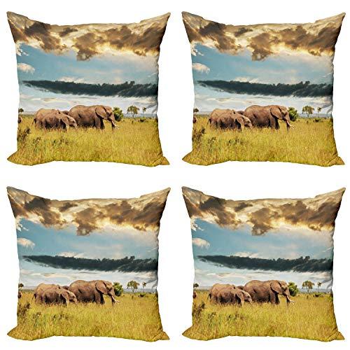 ABAKUHAUS Africano Set de 4 Fundas para Cojín, Familia del Elefante Foto, Estampado Digital en Ambos Lados y Cremallera, 60 cm x 60 cm, Gris Azul Amarillo