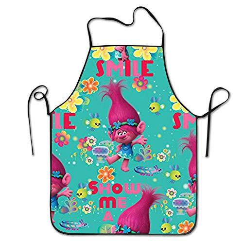 NLKDGS66DS Trolle Poppy Schöne verstellbar Kitchen Chef Schürze mit Tasche und extra lang Herren Krawatten, gewerblichen & Frauen Lätzchen Schürze zum Kochen, Backen, Basteln, Gartenarbeit, BBQ