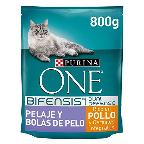 PURINA ONE Bifensis Pienso para Gatos Cuidado de Pelaje y Bolas de Pelo Pollo y Cereales 8 x 800 g ⭐