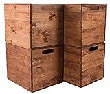 Vintage Möbel 24 GmbH 4X Schöne Korbkiste aus Holz, passend für Kallax IKEA, zum Verstauen von Schulsachen/Spielzeug, neu, 37,5x32x32,5cm (braun)