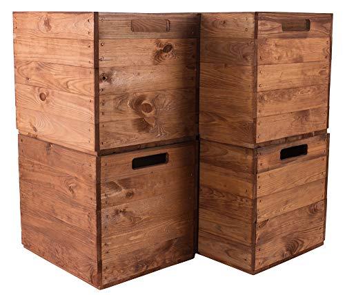 Obstkisten-online 4X KALLAX HOLZKISTEN im Used Look mit Eingriff von 2 Seiten - NEU - 32x37,5x32,5 cm - für Deko, zur Aufbewahrung im IKEA Kallax Regal