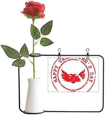 MCJS Red Postmark Happy Valentine's Day Artificial Rose Flower Hanging Vases Decoration Bottle