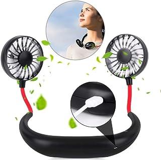 YOMYM Portable Sports Neck Hanging Fan,Free Mini Fan, Pocket Fan, Travel Fan, Earphone Design Mini USB Fan,Wearable Neckla...