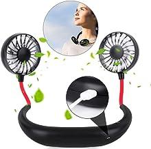 YOMYM Portable Sports Neck Hanging Fan,Free Mini Fan, Pocket Fan, Travel Fan, Earphone Design Mini USB Fan,Wearable Necklance Fan with Double Wind Head