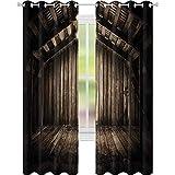 Cortinas opacas estampadas, de madera rústica, rústica, para casa, campo, rural, con impresión en interiores, 52 x 84, color marrón oscuro