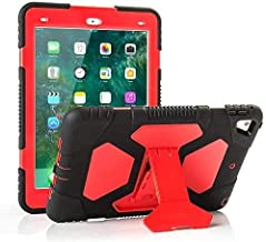 iPad Air 2 Case Shockproof Case Heavy Duty Shockproof Cover Vivid Colors with Stand for iPad Air 2 2014 Release (A1566 A1567)-iPad Air 2 Case (Red)