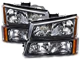 HEADLIGHTSDEPOT Black Housing Halogen Headlights Compatible with Chevy Avalanche 1500 2500 Silverado Classic...