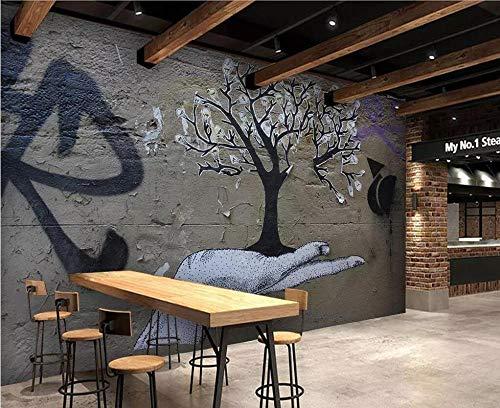 Wnyun 3D Fotobehang - Zijdedoek Premium Behang - Muurmuurdecoratie - Art Design-HD Print-Moder -Tv Achtergrond Abstracte palmbomen Gotische Graffiti 200cmx140cm
