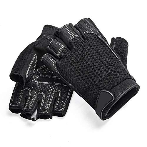 RENJUN - Guantes de entrenamiento para entrenamiento de fitness, deportes, yoga, medio dedo, guantes (color: negro, tamaño: L)