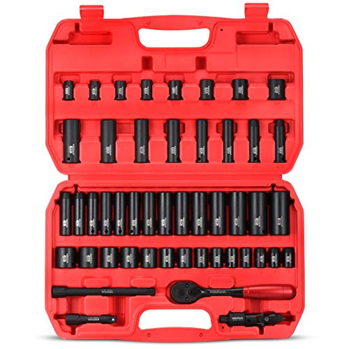"""KBOISHA 3/8"""" Drive Impact Socket Set,49-Piece 6 Point Socket Set Standard SAE and Metric Sizes (5/16-Inch to 3/4-Inch and 8-22 mm) Cr-V Steel Sockets with Adapters & Ratchet Handle"""
