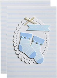 Baby Shower Blank Invitations Boy with Envelopes Cute Printed Sock Invite Cards 25 Pack