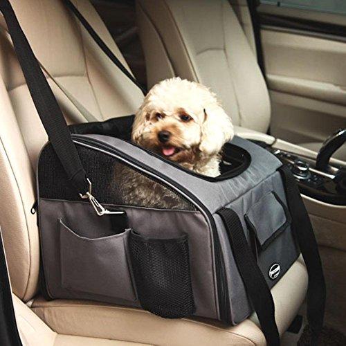 Perrory Hundebox Autositz und Tragetasche für Hunde und Katzen Hundetasche Faltbarer Reise Träger mit Tragegriffe,40x34x30cm (Khaki,Grün,Dunkelgrau,Lila)