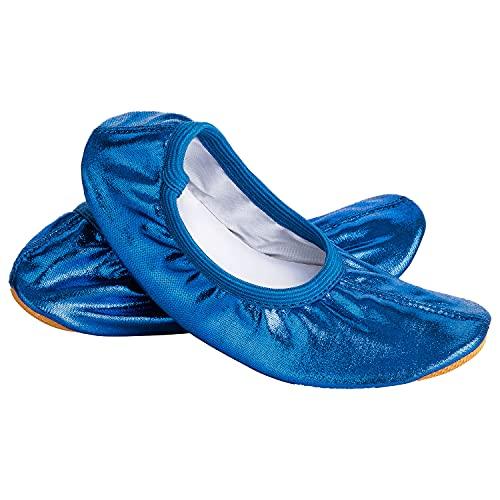 Siegertreppchen® Turnschläppchen Glitzer (Größe 32) Blau | Gymnastikschuhe für Kinder & Erwachsene | Ballettschuhe atmungsaktiv & rutschfest