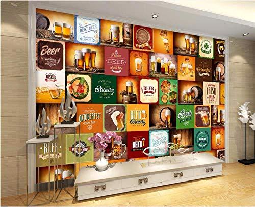 Wandaufkleber Benutzerdefinierte Foto Wandbild 3D Wallpaper Bier Logo Restaurant Bar Dekoration Gemälde 3D Wandbild Wohnzimmer Wallpaper-300Cmx210Cm