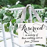 Memorial Chair Sign Reserved In Memory Of Those Watching Over Us From Heaven | Seat Banners To Honor Deceased Relatives & Family Members | Black Ink on White Cardstock & Metallic Silver Ribbon