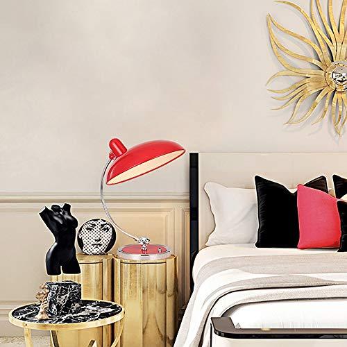 TYXL Lámpara de mesa Sencillo Arte Moderno De La Personalidad Creativa Mesa Salón Dormitorio Estudian La Cabecera Del Escritorio De Hierro Lámpara De Mesa Decorativa 18 * 40cm (Color : Red)
