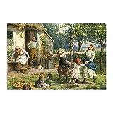 Pintura al óleo, póster de la vida rural en Inglaterra victoriana para decoración de la sala de estar, dormitorio, 20 x 30 cm