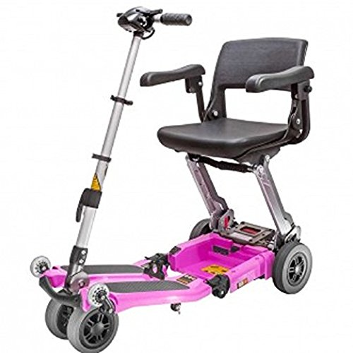 Read About FreeRider USA - Luggie Elite - Compact Lightweight Foldable Scooter - 4-Wheel - Pink