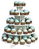 Made in The USA - The Smart Baker 5 Tier Round Cupcake Stand PRO- Holds 90+ Cupcakes As Seen on Shark Tank - Wedding Cupcake Tower