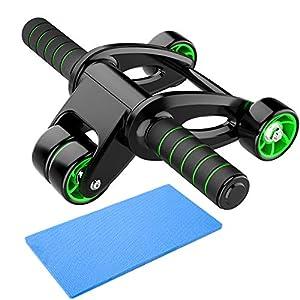 immagine di GIMCALO - Rullo addominale per addominali, a quattro ruote per addominali, attrezzo per esercizi a quattro ruote, per allenamento addominale