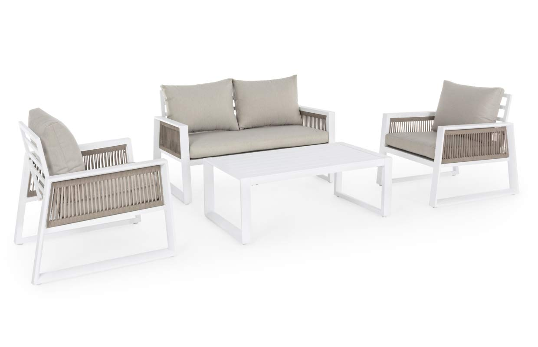 Bizzotto - Juego de muebles de jardín para exteriores Capota de aluminio, color blanco: Amazon.es: Hogar