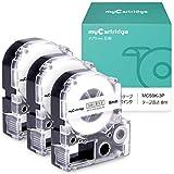 【在庫一掃セール】myCartridge キングジム ss9k テプラ テプラ 9mm テープカートリッジ テプラPRO テプラ 互換 白地黒文字 長さ8M 幅9mm 3個セット 【365日品質保証】