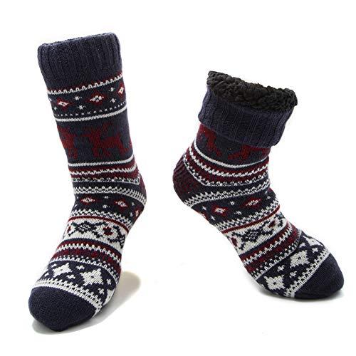 MaaMgic Calcetines Antideslizante Hombres Tejer Doble Lana Calcetines de Casa Invierno Navidad