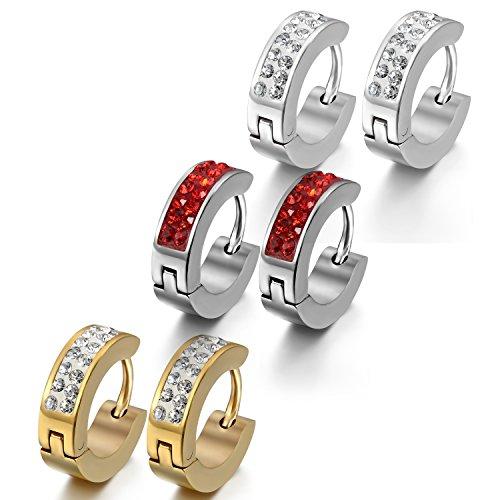 OIDEA 4mm Orecchini per Uomo Donna Orecchini Rotondi in Acciaio Inox Mosaico Strass Argento Rosso Oro(3 Coppie)