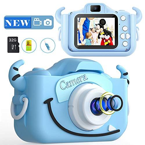 MITMOR Kids Camera Boys Cute Child Digital Camera 32GB Dual Lens 2.0 Inch IPS Color Screen 20.0MP HD Children Digital Cameras Mini Toy Camcorder