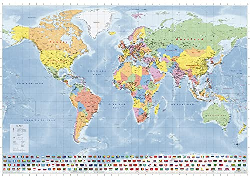 Weltkarte Länder der Erde, Großformat mit beidseitiger Laminierung, beschreibbar/abwischbar, 140 x 100 cm, politischer Stand 2020, Neuauflage, deutsche Version