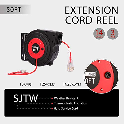 VIVOHOME Heavy Duty 50 Feet Retractable Extension Cord Reel with Ceiling Wall Mount Swivel Bracket and LED Light Connector ETL Certified