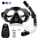 Supertrip Snorkel Set Adults and Youth-Impact Resistant Tempered Glass Scuba Diving Mask Goggles & Dry Top snorkel Anti-fog Film Anti-leak Design