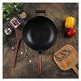 UYROOSS Adecuado para interiores y cocinas de interior de 34 cm, de hierro fundido, para wok, wok, pan, pizza, huevo, cacerola de gas, cacerola para panqueques, cacerola de cocina (color: 34 cm-2)