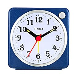 Tinload Small Analog Travel Alarm Clock Silent Non Ticking,Snooze,Ascending Beep Sounds, Battery Operated,Light Functions, Easy Set (Blue)