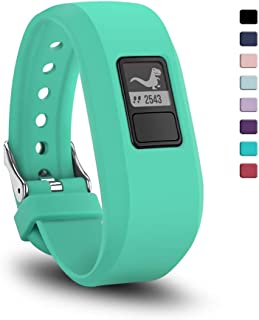 TERSELY Replacement Band Strap for Garmin Vivofit JR 3 Junior 2, Soft Silicone Metal Clasp Buckle Wrist Strap Watch Band Bracelet for VIVOFIT 3 JR Junior 2 1 Kids Fitness Tracker - Cyan