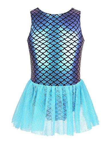 iixpin Vestido de Ballet Maillot Tutu Mono de Gimnasia Niña Vestido Princesa Leotardo Falda de Bailarina Disfraz de Sirena Vestido de Traje de Baño Morado&Azul Claro 12-18 Meses