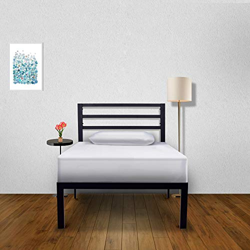 Ambee21 – Twin Platform Bed Frame with Headboard: (14 inch) – Black Heavy Duty Metal Bed Frame, Mattress Foundation, Under Bed Storage, Sturdy Steel Slat Support, No Box Spring Needed