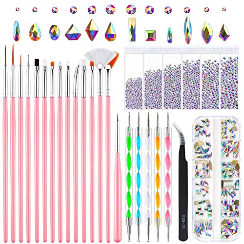 Nail Design Kit, 15 pcs Nail Art Brushes, 5 pcs Nail Dotting Pen, 120 Pcs Multi Shapes Glass Crystal AB Rhinestones for Nail Art Craft, 3D Nail Art Decoration Tools Professional Supplies set